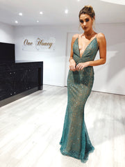 Honey Couture THESSY Green Mermaid Sequin Formal Gown Dress Honey Couture$ AfterPay Humm ZipPay LayBuy Sezzle