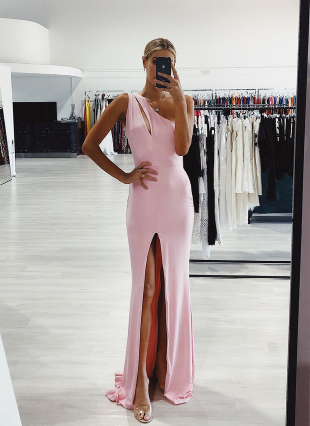 Honey Couture EVANGELINE Baby Pink One Shoulder Formal Dress {vendor} AfterPay Humm ZipPay LayBuy Sezzle