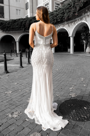 Honey Couture DIAMONDS White Sequin Mermaid Formal Wedding Gown Dress Private Label$ AfterPay Humm ZipPay LayBuy Sezzle