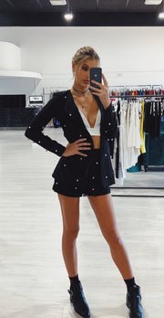 Honey Couture LIZZY Black Pearl Long Sleeve Jacket Shorts Set Honey Couture$ AfterPay Humm ZipPay LayBuy Sezzle