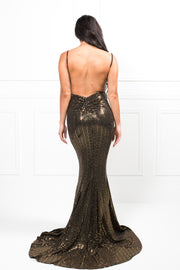Honey Couture AISA Black and Gold Low Back Mermaid Evening Gown Dress Honey Couture$ AfterPay Humm ZipPay LayBuy Sezzle