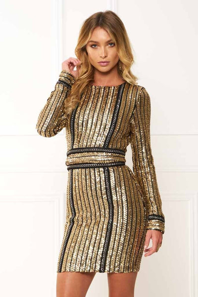 Honey Couture ANICE Black Gold Long Sleeve Sequin Belt Rope Dress