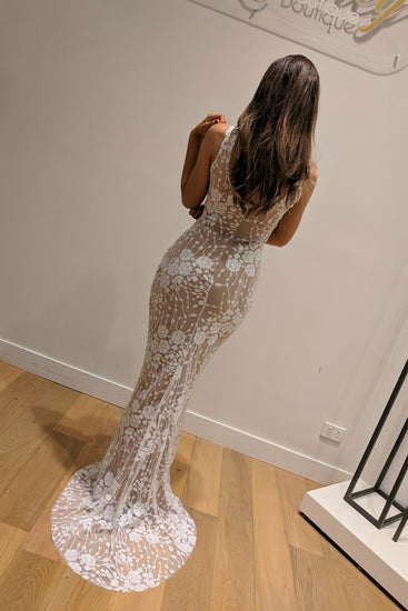 Honey Couture AVA White Nude Sequin Lace Effect Mermaid Dress