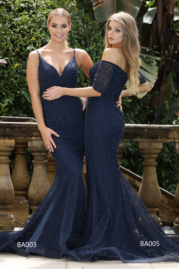 Tina Holly Couture BA003 Navy Blue Pearl & Mesh Formal Dress Tina Holly Couture$ AfterPay Humm ZipPay LayBuy Sezzle