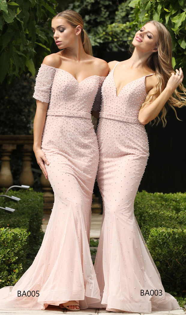 Tina Holly Couture BA003 Pink Pearl & Mesh Formal Dress Tina Holly Couture$ AfterPay Humm ZipPay LayBuy Sezzle