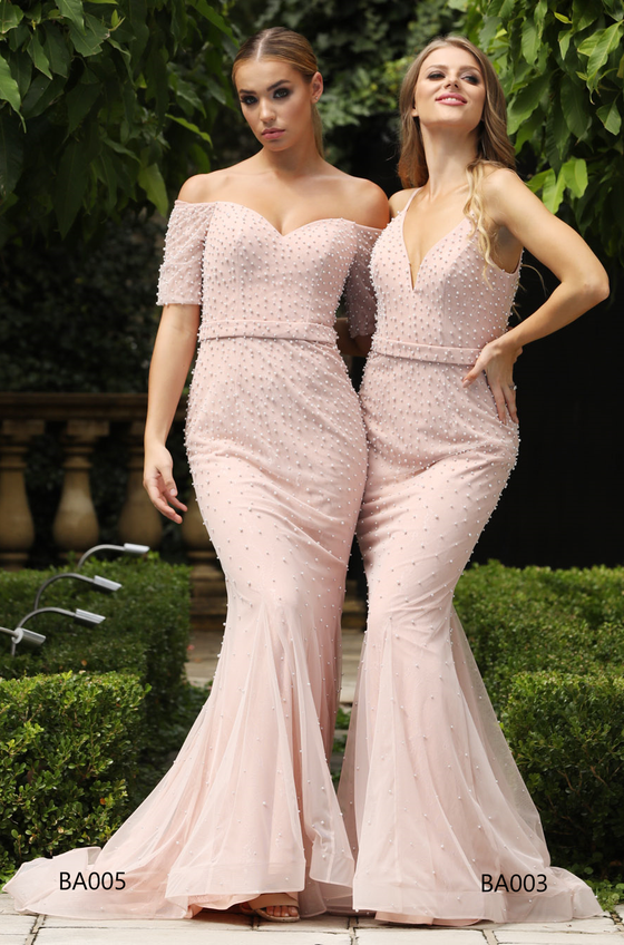 Tina Holly Couture BA003 Pink Pearl & Mesh Formal DressTina Holly CoutureOne Honey Boutique AfterPay OxiPay ZipPay