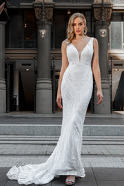 Tina Holly Couture BA109 White Sequin & Lace Mermaid Bridal Formal Dress {vendor} AfterPay Humm ZipPay LayBuy Sezzle