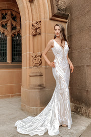Tina Holly Couture BA109 White & Nude Sequin & Lace Mermaid Bridal Formal Dress {vendor} AfterPay Humm ZipPay LayBuy Sezzle