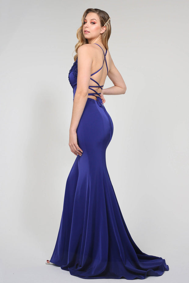Tina Holly Couture Designer BA111 Blue Purple Satin Mermaid Formal Dress Tina Holly Couture$ AfterPay Humm ZipPay LayBuy Sezzle