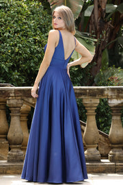 Tinaholy Couture Designer BA269 Navy Blue Satin Formal Dress Tina Holly Couture$ AfterPay Humm ZipPay LayBuy Sezzle