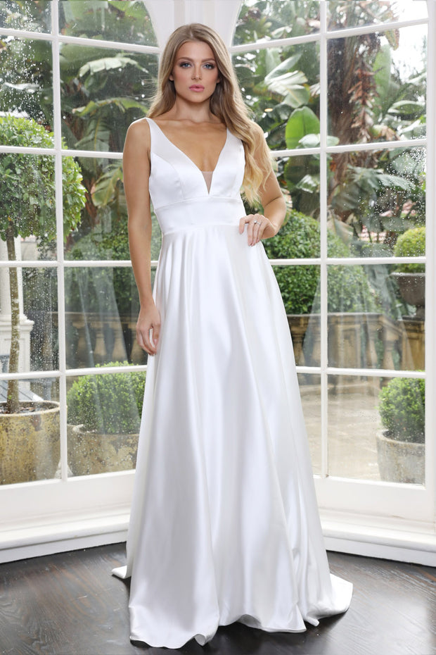 Tinaholy Couture Designer BA269 White Satin Formal Dress Tina Holly Couture$ AfterPay Humm ZipPay LayBuy Sezzle
