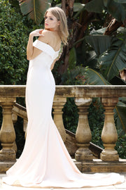 Tinaholy Couture BA306 Alabaster French Satin Off Shoulder Mermaid Dress Tina Holly Couture$ AfterPay Humm ZipPay LayBuy Sezzle