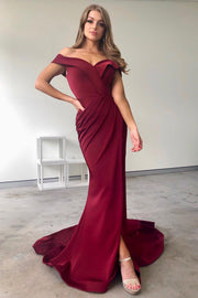 Tinaholy Couture BA306 Wine French Satin Off Shoulder Mermaid Dress Tina Holly Couture$ AfterPay Humm ZipPay LayBuy Sezzle