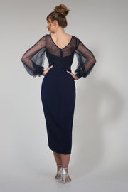 Tina Holly Couture Designer BA356 Navy Blue Pearl Long Sleeve Midi Dress {vendor} AfterPay Humm ZipPay LayBuy Sezzle
