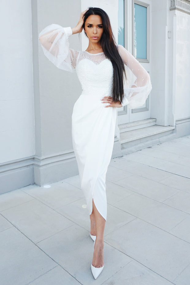 Tina Holly Couture Designer BA356 White Pearl Long Sleeve Midi Dress {vendor} AfterPay Humm ZipPay LayBuy Sezzle