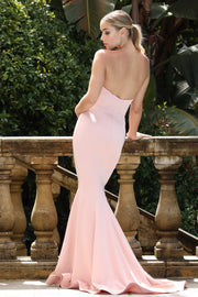 Tina Holly Couture Designer BA651 Dusty Pink Satin Strapless Mermaid Formal Dress Tina Holly Couture$ AfterPay Humm ZipPay LayBuy Sezzle