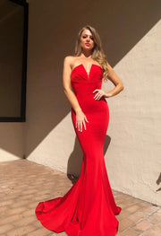 Tina Holly Couture Designer BA651 Red Satin Strapless Mermaid Formal Dress Tina Holly Couture$ AfterPay Humm ZipPay LayBuy Sezzle
