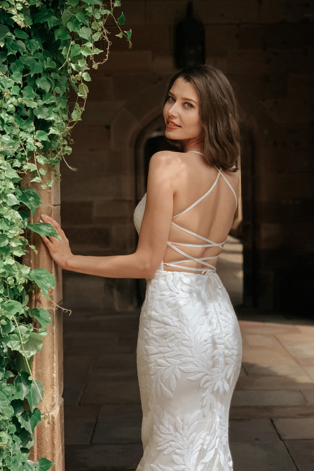 Tina Holly Couture BB001 White Sequin Lace Back Mermaid Bridal Formal Dress {vendor} AfterPay Humm ZipPay LayBuy Sezzle
