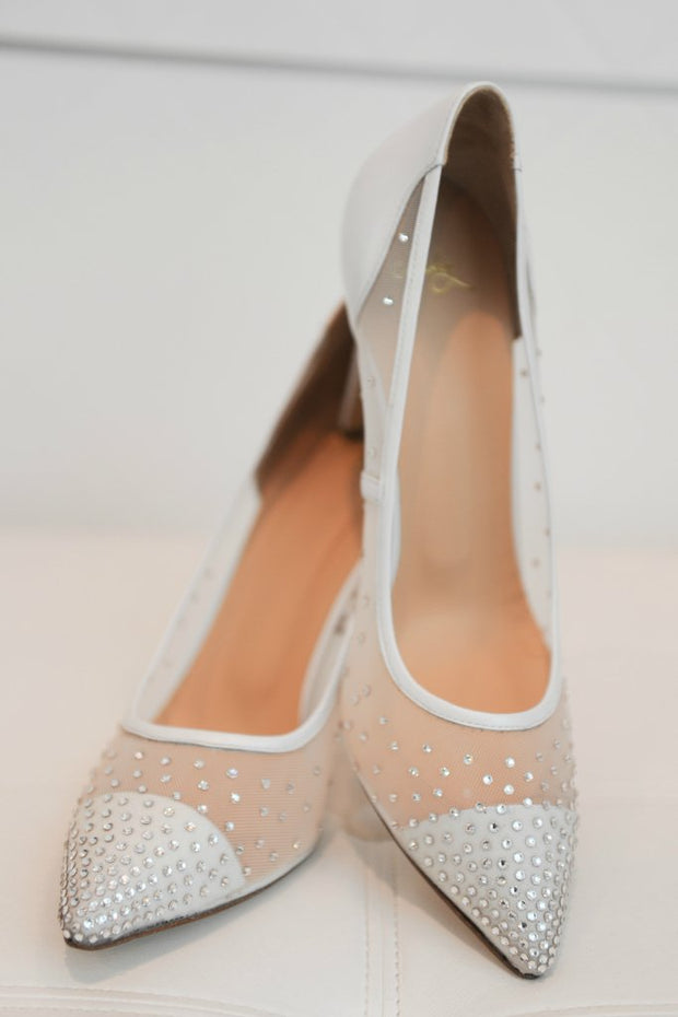 MISHEY Shoes Designer White BRIDAL Swarovski Crystal Pumps High Heels Mishey$ AfterPay Humm ZipPay LayBuy Sezzle