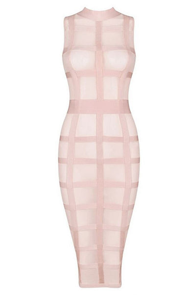 Honey Couture Pink Mesh Bandage Cage Bodycon Dress , Bandage Dress Honey Couture, One Honey Boutique  Australian Online Store - 1