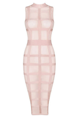 Honey Couture Pink Mesh Bandage Cage Bodycon Dress , Bandage Dress - Honey Couture, One Honey Boutique  - 1