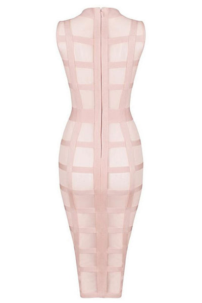 Honey Couture Pink Mesh Bandage Cage Bodycon Dress , Bandage Dress Honey Couture, One Honey Boutique  Australian Online Store - 4