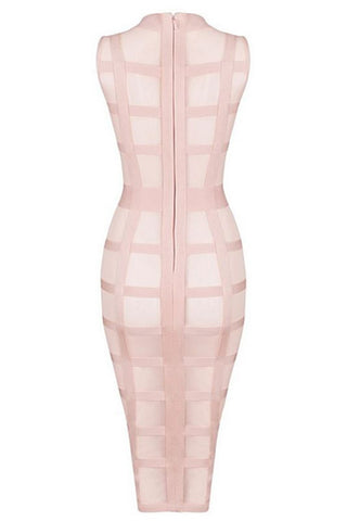 Honey Couture Pink Mesh Bandage Cage Bodycon Dress , Bandage Dress - Honey Couture, One Honey Boutique  - 5