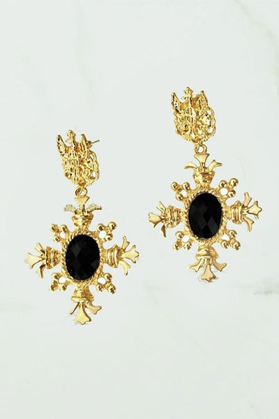 Gold Oversized Black Stone Crown Statement Earrings
