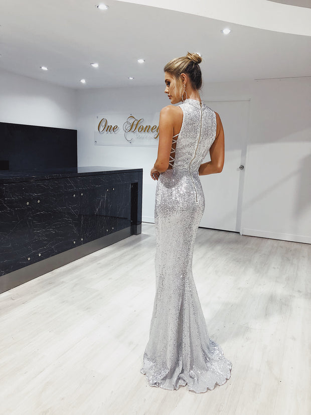 Honey Couture KENNY Silver Lace Side Sequin Formal Dress {vendor} AfterPay Humm ZipPay LayBuy Sezzle