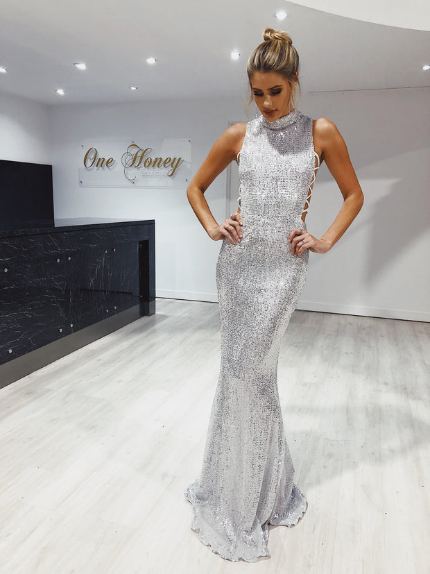 Honey Couture KENNY Silver Lace Side Sequin Formal Dress
