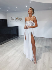 Honey Couture LILIANA White Sheer Formal Dress Honey Couture$ AfterPay Humm ZipPay LayBuy Sezzle