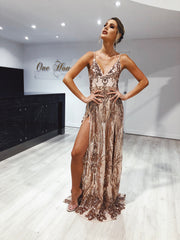 Honey Couture AZALIA Gold Split Front Sequin Formal Dress