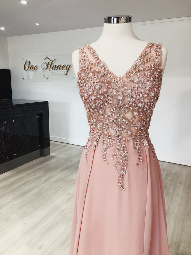 Honey Couture ALICIA Lace Applique Custom Made Formal Dress {vendor} AfterPay Humm ZipPay LayBuy Sezzle