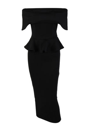 Honey Couture CAMILLA Black Strapless Peplum Midi DressHoney CoutureOne Honey Boutique AfterPay OxiPay ZipPay