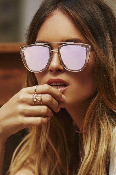 Quay Australia FRENCH KISS Clear Rose Designer Sunglasses