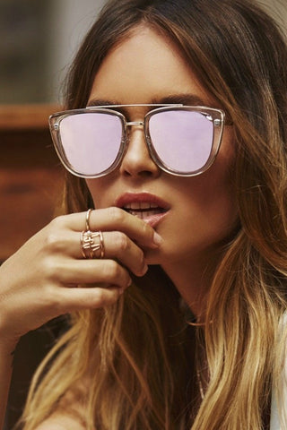 Quay Australia FRENCH KISS Clear Rose Designer Sunglasses Australian Online Store One Honey Boutique AfterPay ZipPay