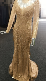 Tinaholy Couture T17130 Gold Beaded Mesh Sleeve Formal Gown Prom Dress {vendor} AfterPay Humm ZipPay LayBuy Sezzle