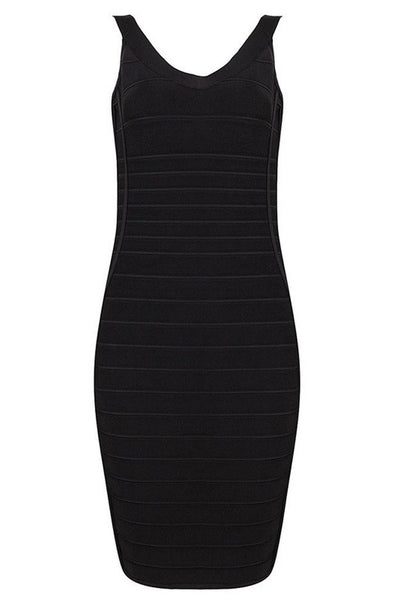 Honey Couture Black NATALIE Gold Buckle Bandage Dress