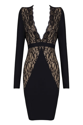 Honey Couture HALO Black & Nude Lace Long Sleeve Dress Australian Online Store One Honey Boutique AfterPay ZipPay