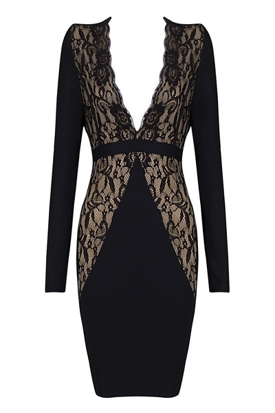 Honey Couture HALO Black & Nude Lace Long Sleeve Dress