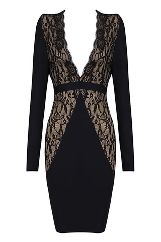 Honey Couture Black & Nude Lace Long Sleeve Dress