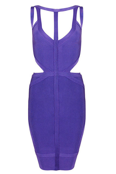 Honey Couture Purple MIKI Cut Out Mini Bandage Dress