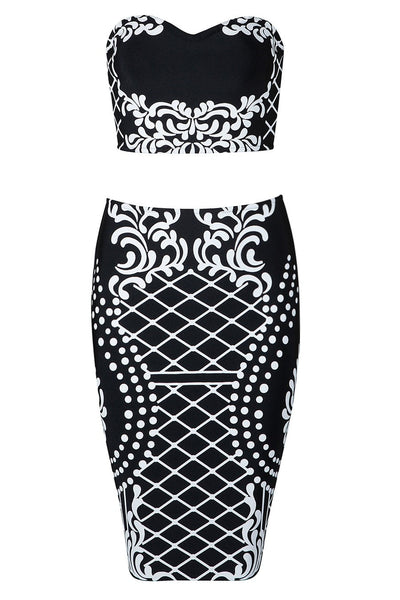 Honey Couture IZZIE Black Patterned Crop Top & Skirt Bandage Set