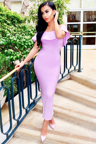 Honey Couture Pink Strapless Frilly Tube Bandage Dress