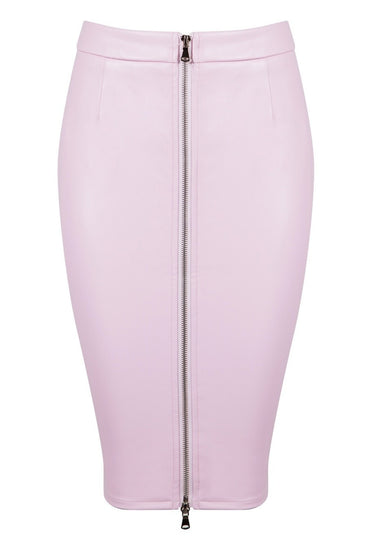 Honey Couture ZOE Pink Vegan Leather Zip Front Pencil SkirtHoney CoutureOne Honey Boutique AfterPay OxiPay ZipPay