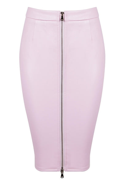 Honey Couture ZOE Pink Vegan Leather Zip Front Pencil Skirt