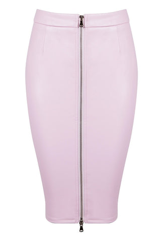 Honey Couture ZOE Pink Vegan Leather Zip Front Pencil Skirt Honey Couture One Honey Boutique AfterPay ZipPay OxiPay Sezzle Free Shipping