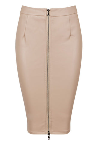 Honey Couture ZOE Nude Vegan Leather Zip Front Pencil Skirt Honey Couture One Honey Boutique AfterPay ZipPay OxiPay Sezzle Free Shipping