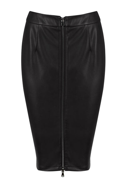 Honey Couture ZOE Black Vegan Leather Zip Front Pencil Skirt