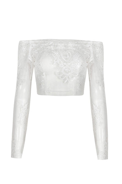 Honey Couture BRITTANY White Sheer Off Shoulder Long Sleeve Embroided Crop Top Australian Online Store One Honey Boutique AfterPay ZipPay